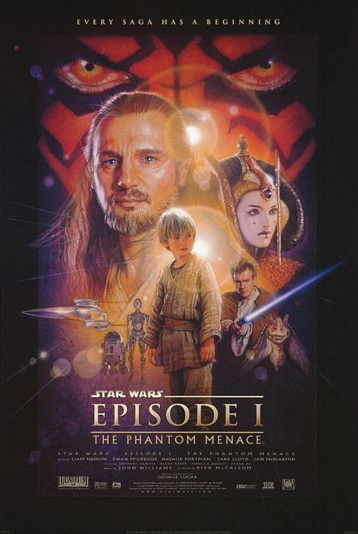 STAR WARS: EPISODE I - THE PHANTOM MENACE (1999): Two Jedi Knights escape a hostile blockade to find allies and come across a young boy who may bring balance to the Force, but the long dormant Sith resurface to reclaim their old glory.: