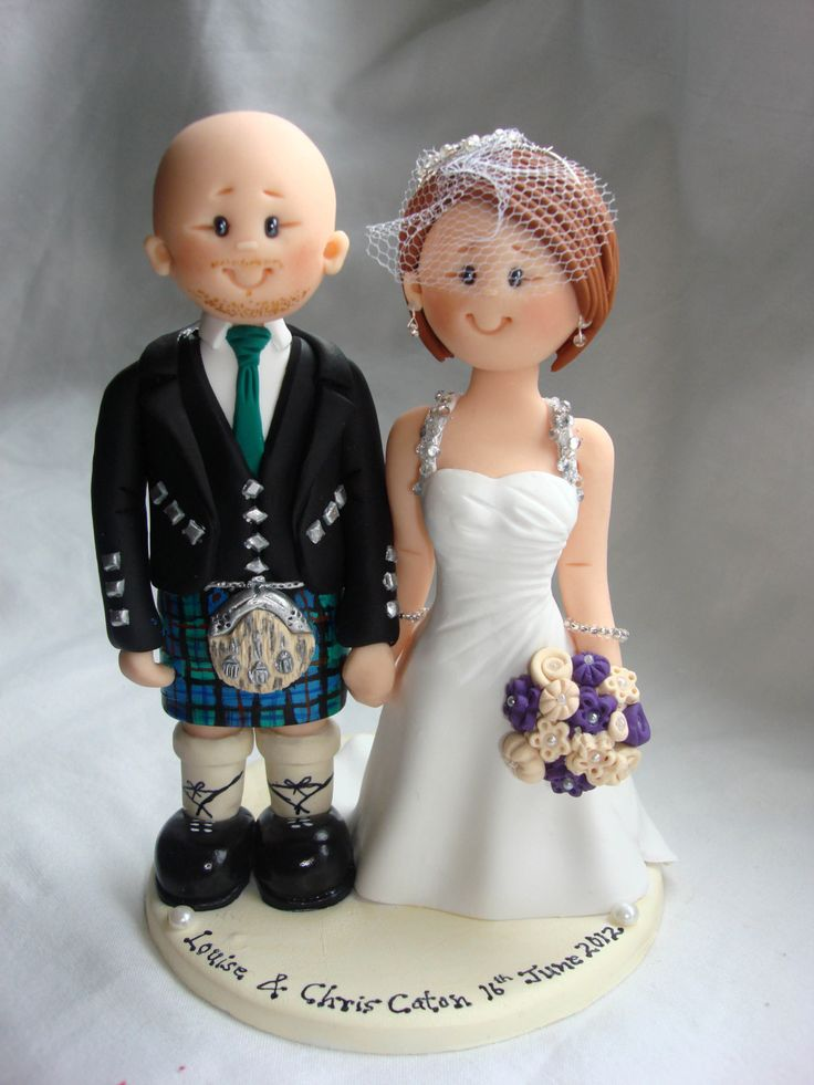 Scottish Groom in Tartan Kilt Wedding Cake Topper - Custom made bride and groom wedding cake topper by ALittleRelic on Etsy https://www.etsy.com/listing/238129405/scottish-groom-in-tartan-kilt-wedding