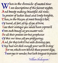 Calligraphy by Irene Wellington. Click to enlarge.: Sonnets 106, Scribe Treasure, Calligraph Sigh, Google Search, Irene Wellington, Public Libraries, San Francisco, Francisco Public
