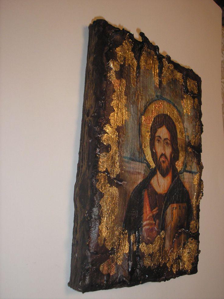Декупаж византийские иконы decoupage byzantine icon Stella ντεκουπαζ εικονα του Χριστου Στελλα