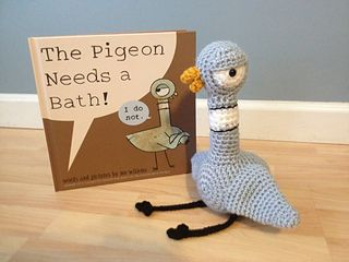 This crochet pattern gives instructions to make a pigeon character amigurumi from the children's book, Don't Let the Pigeon Drive the Bus, by Mo Willems. It makes a great companion for read-alouds!