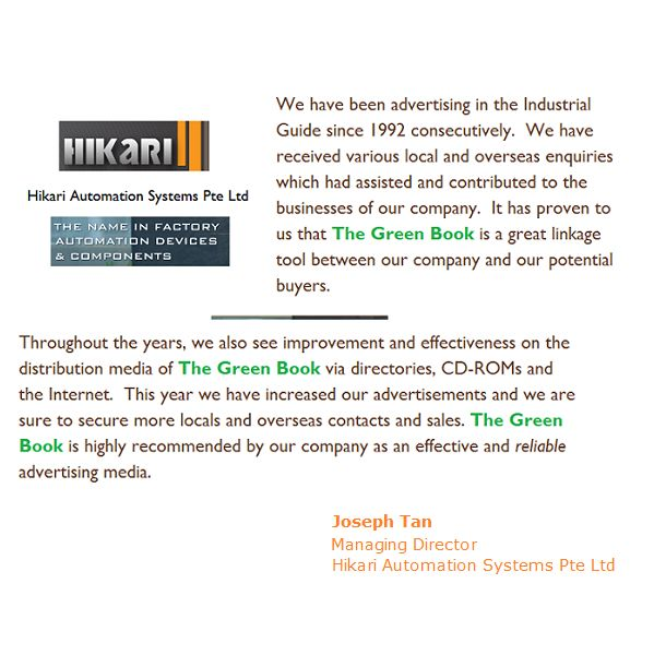 what Hikari Automation Systems Pte Ltd has got to say about The Green Book