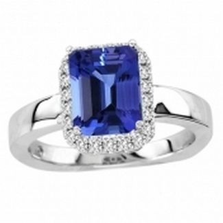 1.95ct Emerald Cut Tanzanite Ring With .2ctw Diamonds in 14k White Gold @ $3221.99.