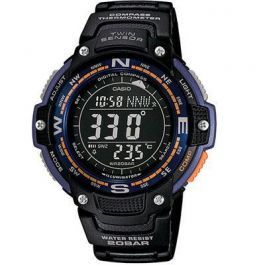 Twin Sensor Watch Blugrn Light  Casio Twin Sensor: Digital compass/Thermometer Watch. World time, EL backlight, 1/100-second stopwatch, Countdown timer, 5 daily alarms, Low-temperature resistant (-10 C/14 F), 200m water resistance. Case / bezel material: Resin / Aluminum, Leather/Cloth Bands.