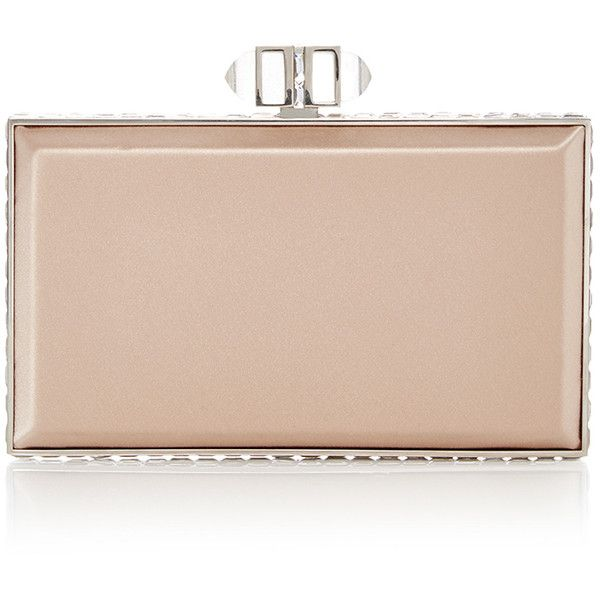 Judith Leiber Couture Nude Rectangle Clutch ($2,195) ❤ liked on Polyvore featuring bags, handbags, clutches, metallic clutches, nude purses, metallic purse, chain handbags and judith leiber purse