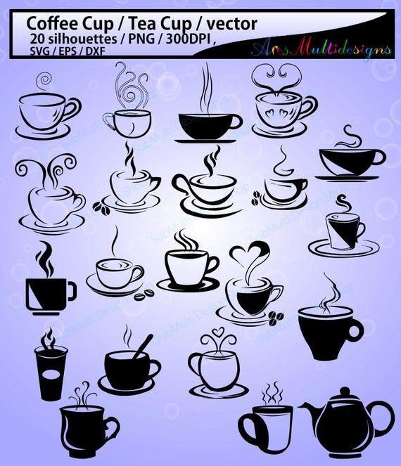 20 Coffee Svg Tea Mug Hq Coffee Cup Silhouette Tea Cup Etsy In 2021 Coffee Svg Coffee Cup Tattoo Hot Glue Art