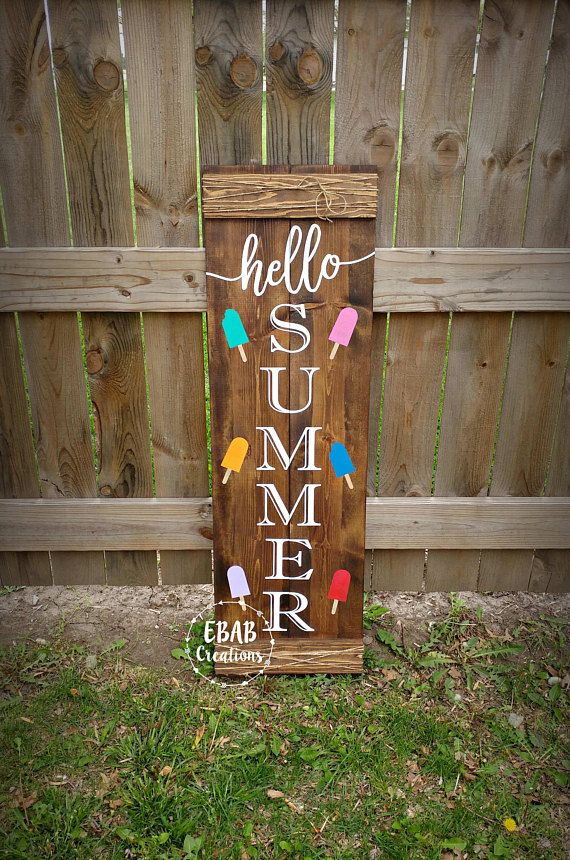 Welcome Sign Hello Summer Reversible Sign Front Porch