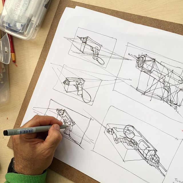 Morning lecture in ID212; the selection of perspective defines the message you want to communicate. Play with horizon line and vanishing points in thumbnails to see how it changes the end result. #idsketching #illustration #design #sketching #productdesign #industrialdesign #metu #ID #entas #endustriurunleritasarimi #designsketching #lecture #viscom #perspective #sketch