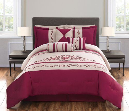"""7 Piece Queen Florencia Embroidered Comforter Set Red/Taupe by KingLinen. $79.99. This beautiful ensemble features floral and vine embroidery with stripes and pleated details, an eclectic set that will be great any bedroom. 3 decorative pillows included.FeaturesSize: QueenColor: Red/Taupe100% PolyesterMachine washableThis set includes:1 Comforter (90""""x90"""")2 Shams (20""""x26"""")1 Bedskirt(60""""x80""""+14"""")3 Decorative Cushions. Save 68% Off!"""