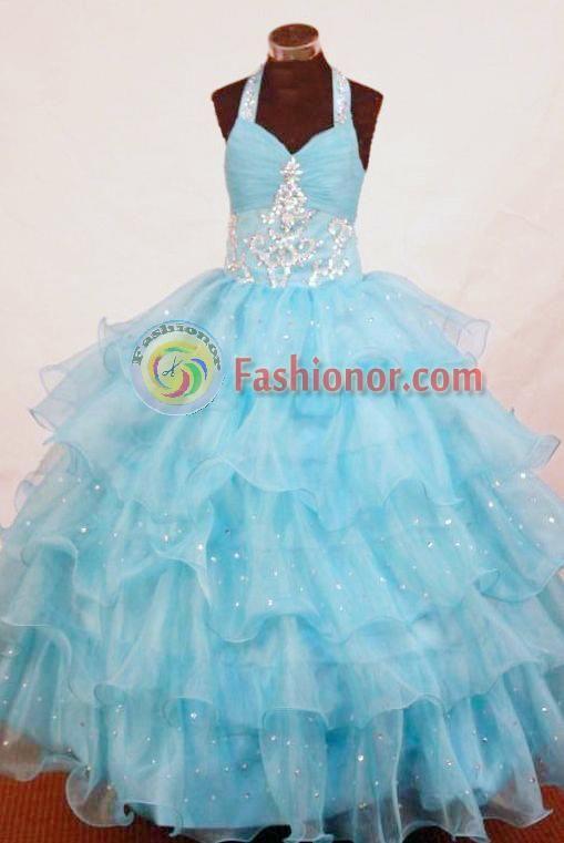 7cfd5d03e Perfect Ball Gown Halter Top Floor-length Aqua Blue Organza ...