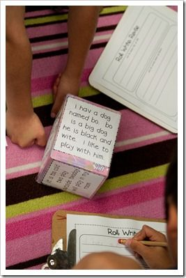 Tape 6 different wrong sentences and glue them onto a tissue box.  The kids roll the box, read the sentence,  write it, and then revise it.  Great for a writing center!