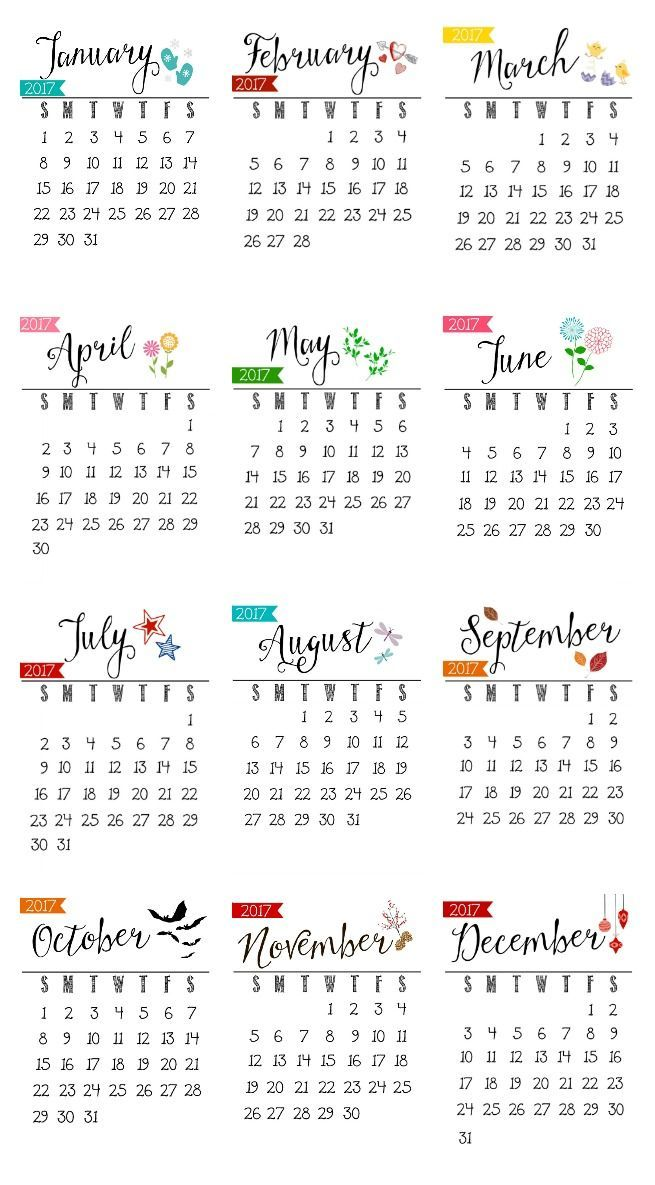 Free Printable 2017 Calendar Free printable, Desks and Gift - yearly calendar
