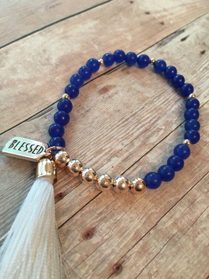 Blue Aventurine Stretch Bracelet Blue Beaded Tassel Bracelet Blue Aventurine…