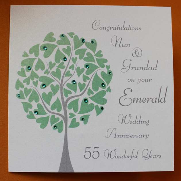 Personalised Emerald Wedding Anniversary Card