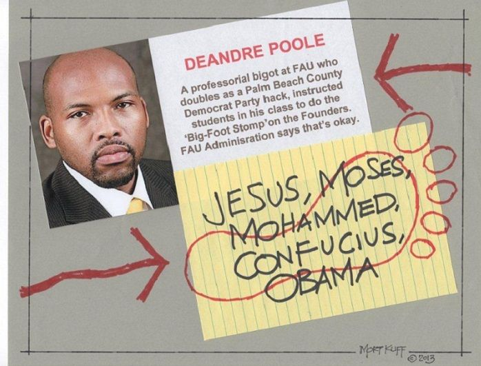 Stomping on paper written Jesus, Moses, Mohammed, and others alike are Dr. Poole's favourites