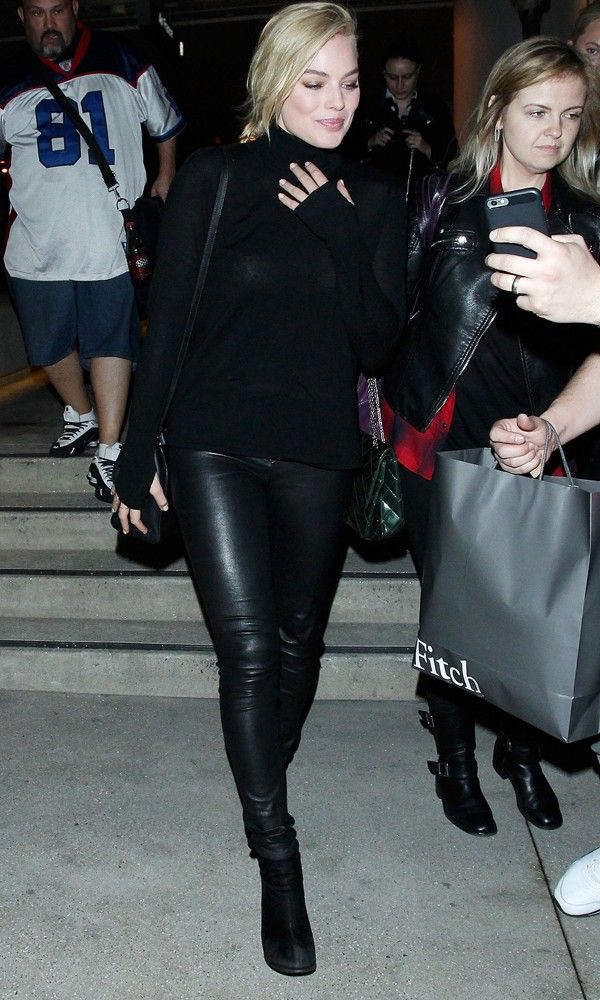 Margot Robbie Is Timelessly Stylish In Head-To-Toe Black