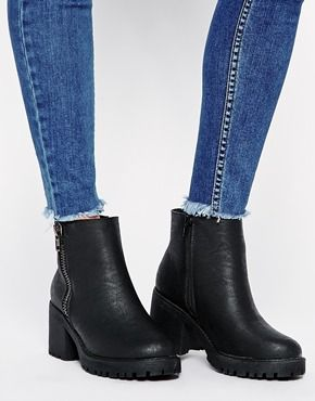 New Look Champ Black Zip Detail Chunky Heeled Ankle Boots