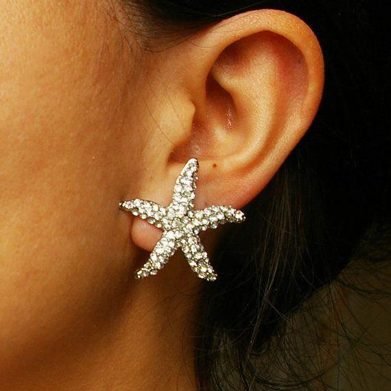 Bridal Starfish Earrings Crystal Starfish Wedding by luxedeluxe
