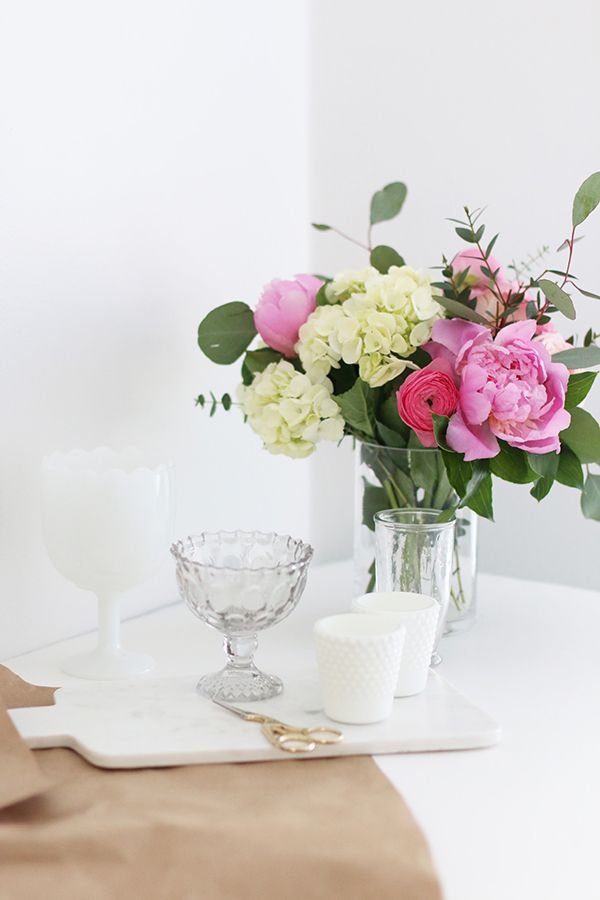 Pink peonies in a floral arrangement
