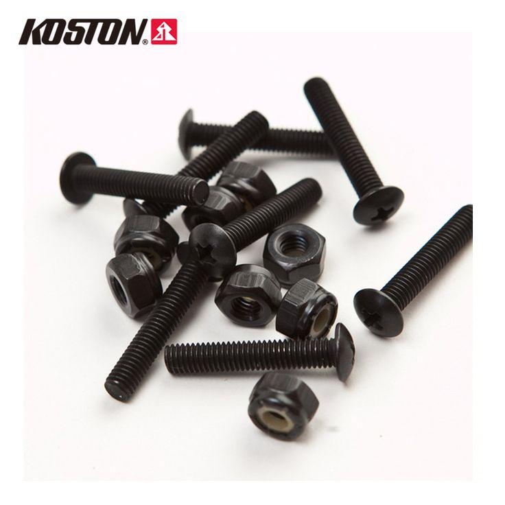Koston 1.35 Inch Black Nail Deck Bolts Skateboard Hardware 8 Nuts and 8 Bolts Hexagon Longboard Steel Screws AC302 #Affiliate