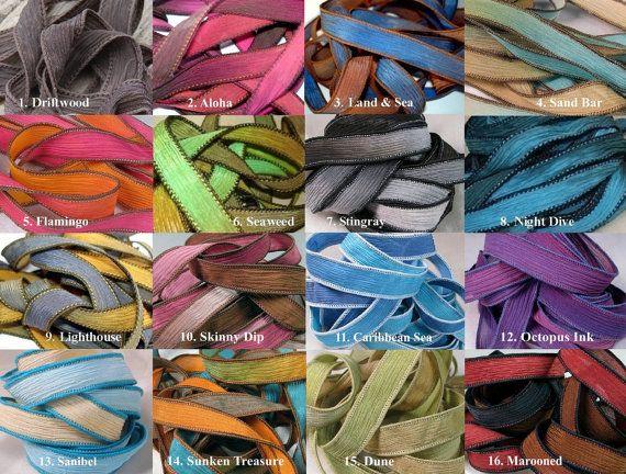 Hand Dyed Silk Ribbons Extra Yoga Wrap Bracelet by HappyGoLicky, $6.50