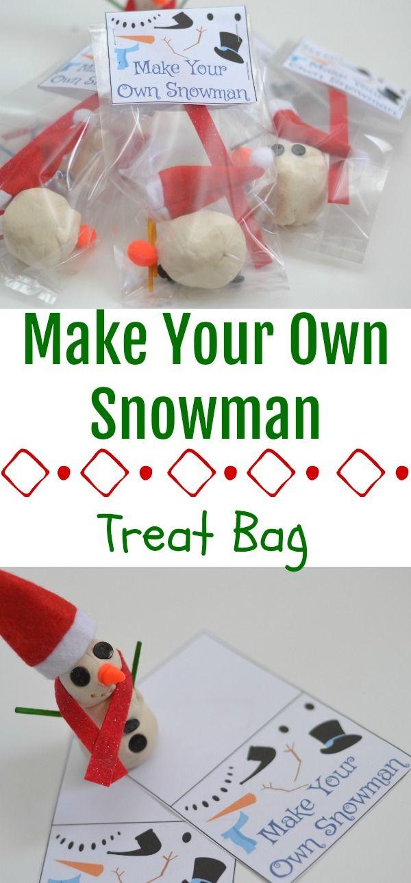 Make Your Own Snowman - Treat Bag, make your own playdoh snowmen, christmas classroom treats, build your own snowman, craft for kids, build your own snowman treat bag, DIY snowman kit,