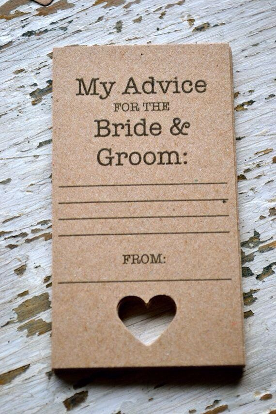 free bridal shower advice card template%0A Guestbook alternative    rustic wedding advice cards on brown card