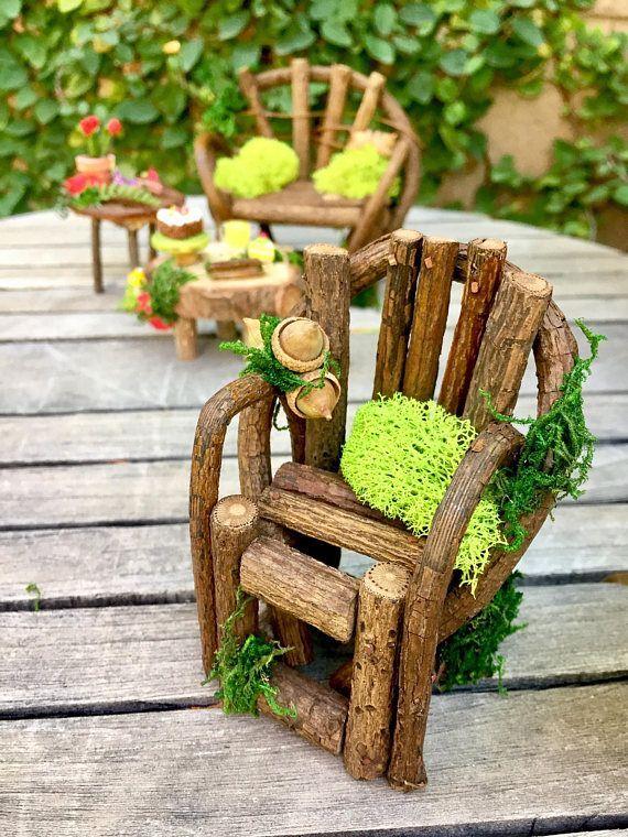 Fairy garden furniture set fairy bench and chair miniature #miniaturefairygardens