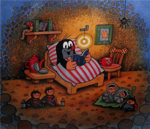 (2015-02) Muldvarpen læser i sengen, larverne ligger i senge på gulvet