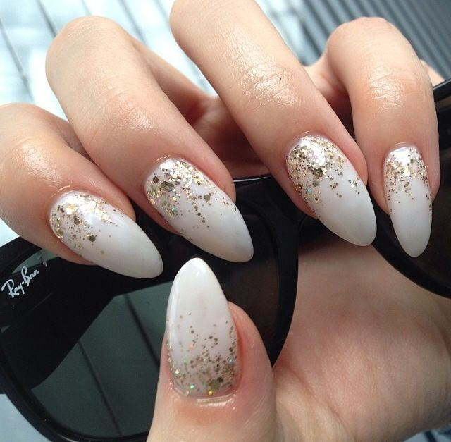 #pointy #nails #gel #no-chip #cute #white #gold #glitter