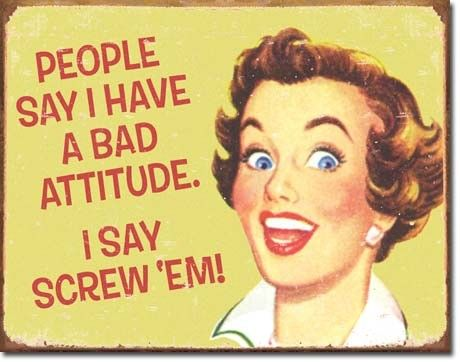 Bad Attitude Tin Sign: Tins Signs, Funny Signs, Bad Attitude, Laundry Rooms, Colleges Dorm, Retro Housewife, Dorm Rooms Decor, Screw Ems, Positive Attitude