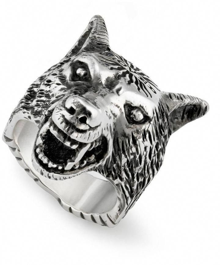 e4763473c Gucci Jewel Anger Forest Wolf S Ring In Sterling Silver With Aureco  Finishing #mensaccessoriesring