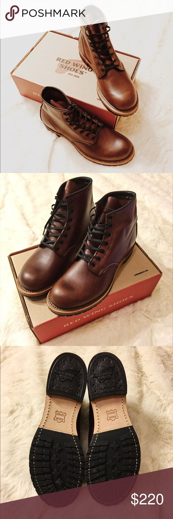 "Red Wing Shoes Heritage Beckman 6"" Round Toe👞 Red Wing Shoes Heritage Beckman 6"" Round Toe. Size 9.5 Men's in Cigar. BRAND NEW!! UNWORN!! Comes with original box. Purchased from the original Red Wing Boots store in Red Wing, Minnesota! Bought this pair of boots as a factory second for $250 ($100 off MSRP) as it has a few scuffs on the leather but other than that it's virtually brand new. Still has the new leather smell!!  $350 MSRP Red Wing Shoes Shoes Boots"