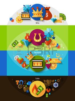 flat slot: Slot machine with symbols for win chance jackpot and loss shadow horizontal banners set flat isolated vector illustration