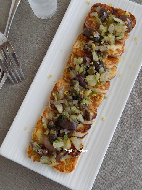 Χαλούμι με φινόκιο, ελιές και δυόσμο http://pepiskitchen.blogspot.gr/2012/01/blog-post_27.html