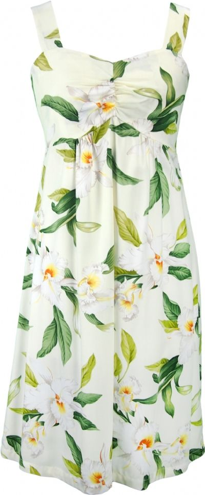Aloha Kai Hawaiian Print Sun Dress in Beige
