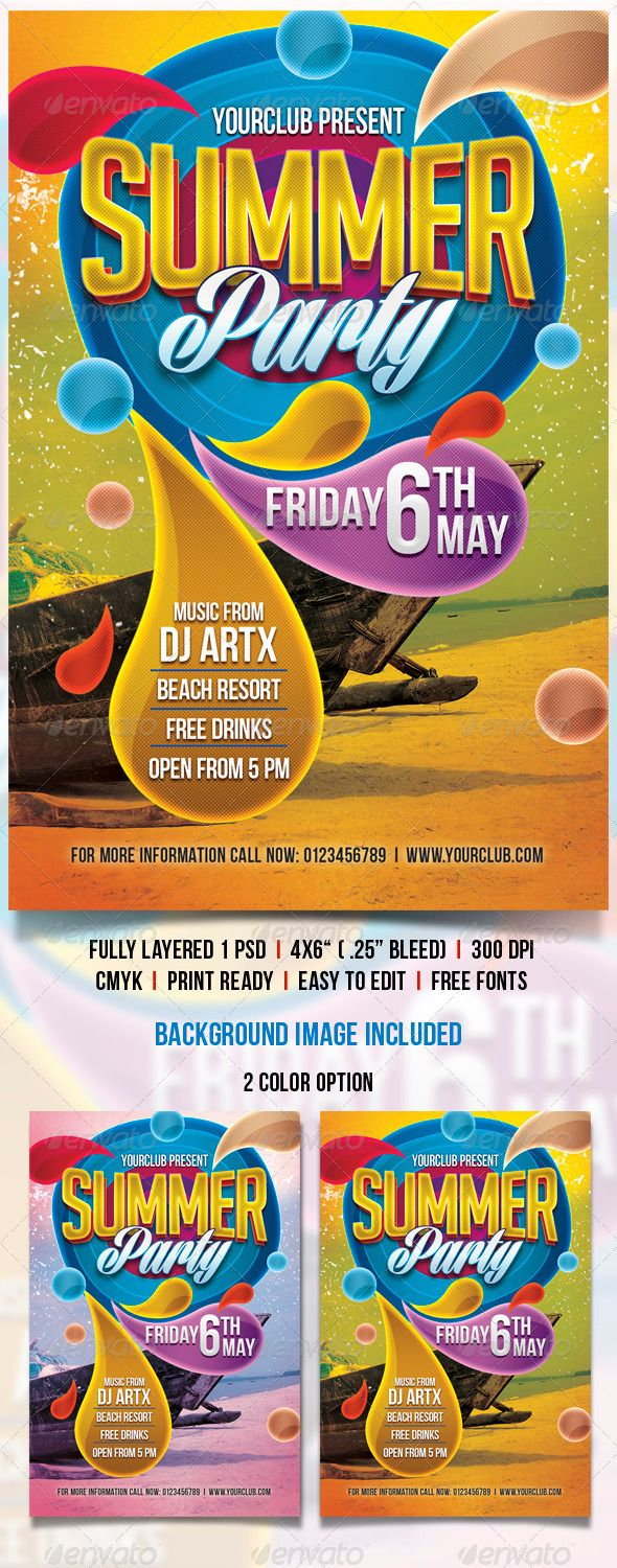 Poster design template free - Summer Party Flyer