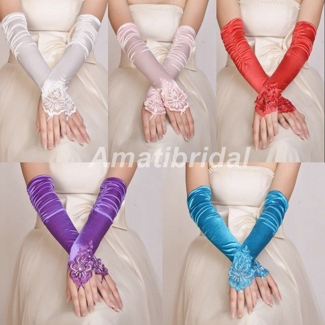 New Wedding Girls Evening Party Fingerless Pearl Lace Satin Bridal Gloves #Fingerless