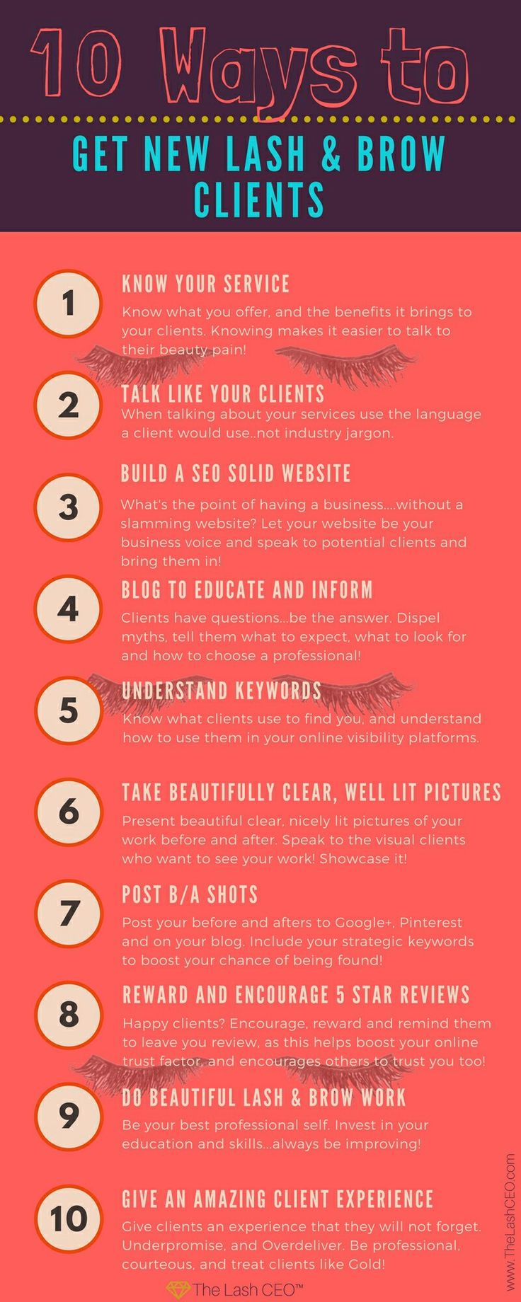10 Ways to Get Lash & Brow Clients www.TheLashCEO.com