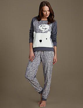 Free Hugs Slogan Fleece Pyjamas