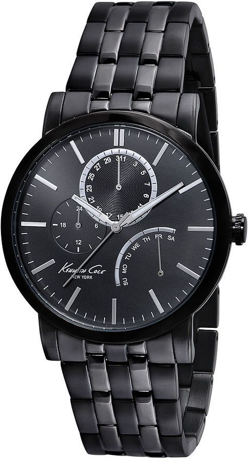 Kenneth Cole Watch, Men's Black Ion-Plated Stainless Steel Bracelet 44mm KC9238 on shopstyle.com
