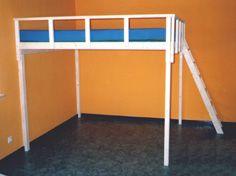 Hochbett 140x200 bis 200x200 mit Stufenleiter und Schlafgeländer für Erwachsene und Kinder