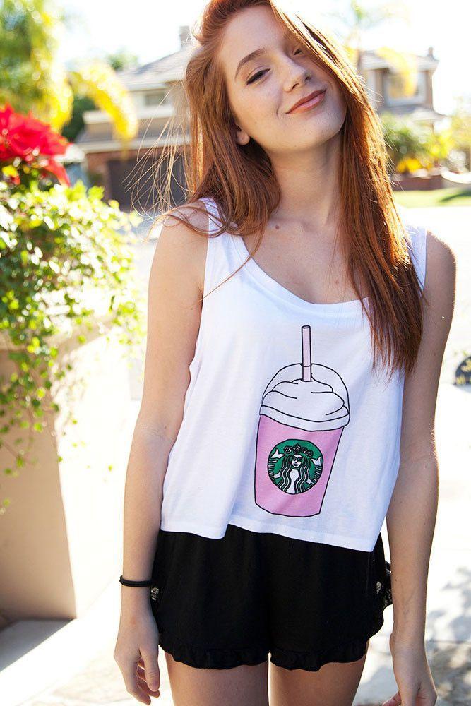 Hauts Courts Starbucks Coffee elegant Top Imprime Pas Cher www.modebuy.com @Modebuy #Modebuy #Blanc #me #pleasefollow #Acheter