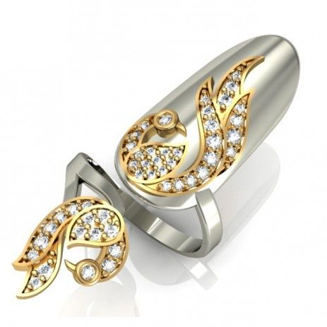 $42.95-Golden Phoenix Style Ring For Nail In White Gold Plated 925 Sterling Silver