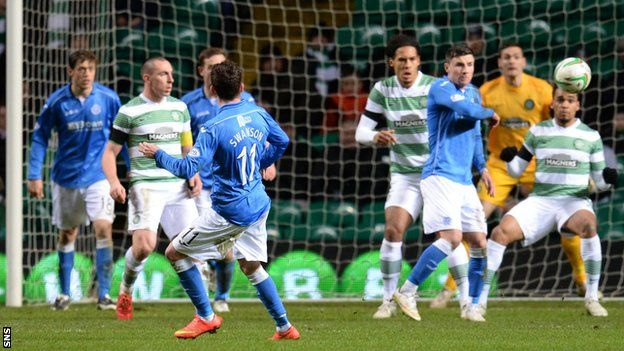 Danny Swanson (11) gave St Johnstone the lead with a 25-yard shot.  Celtic's seemingly inexorable march towards the Scottish Premiership title suffered a setback thanks to a stunning Danny Swanson volley.