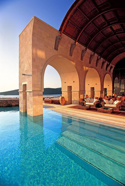 Blue Palace Hotel in Elounda, Crete (Greece).   ASPEN CREEK TRAVEL - karen@aspencreektravel.com