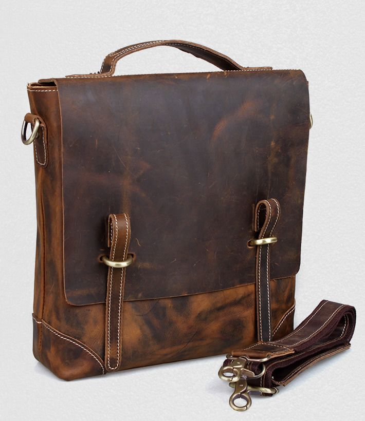 Vintage Crazy Horse Leather Briefcase / Messenger Satchel