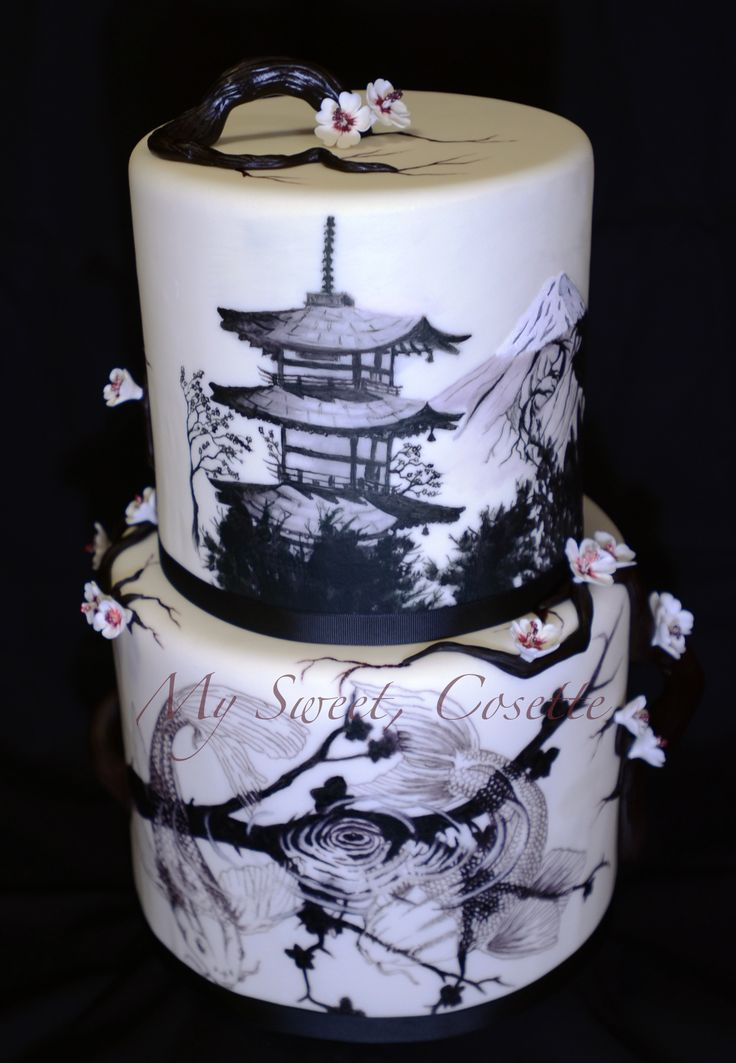 Amazing Japanese themed painted cake - black on white decoration. Absolutely incredible!