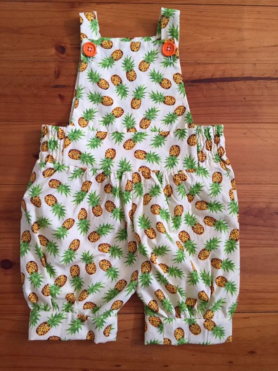 Baby Overalls Unisex Pineapples on Pale Yellow by SpirwellSewing