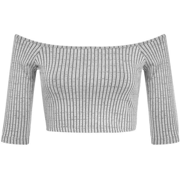 Miss Selfridge Petites Bardot Rib Crop Top ($28) ❤ liked on Polyvore featuring tops, shirts, crop top, mid grey, petite, grey shirt, crop shirts, shirt crop top and ribbed shirt